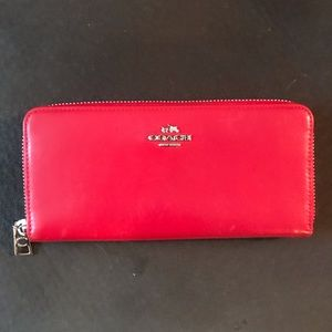Coach Red Accordion Zip Wallet